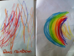 Sam & drew rainbows!